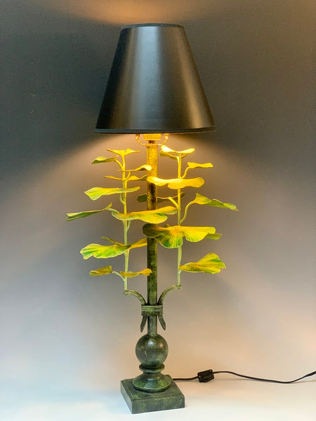 Handmade Gingko Table Lamp with Black Shade