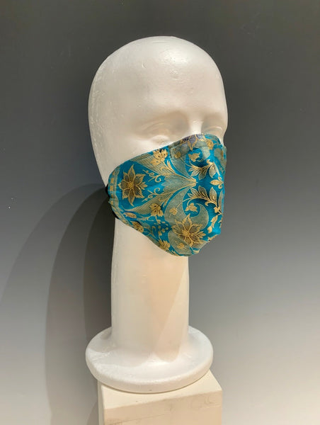 Blue Silk Embroidered Reversible Face Mask with Tshirt Adjustable ear straps