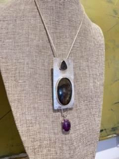 Labradorite, Druzy, Sugelite and Sterling Silver Pendant Necklace