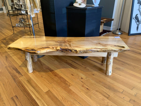 Spalted Maple Bench with Locust Legs and Barnwood Apron and Tenon Joints BGT002
