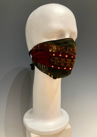 Brown/Multi Color Printed Silk Reversible Face Mask with Tshirt Adjustable ear straps