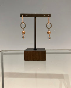 Copper and Hematite Earrings with Brass findings