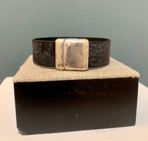 Distressed Black Leather 20mm with Silver Magnetic Clasp Cuff