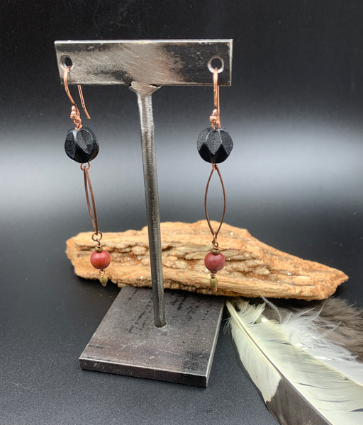 Black carved Wood bead earrings with Copper