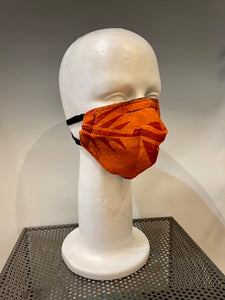 Orange Print Silk Reversible Face Mask