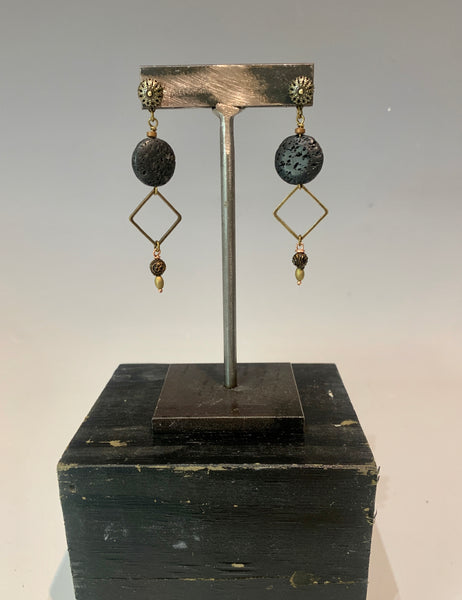 Lava Stone and Brass Post Earrings