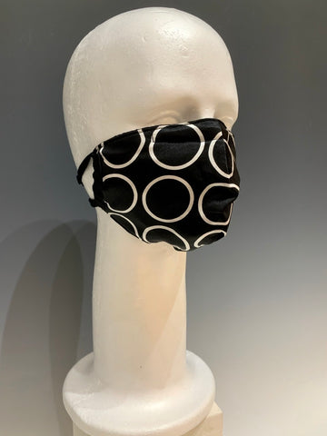 Black and White Circle Printed Silk Reversible Face Mask with Tshirt Adjustable ear straps