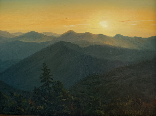 """Sunset from Caney Fork Overlook, July 2"" Original Framed Oil Painting"