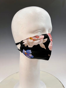 Black Floral Print and Purple Silk Reversible Face Mask