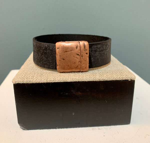 Distressed Black Leather 20mm with Copper Magnetic Clasp Cuff