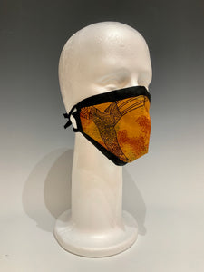 Multi Orange and Black Cotton and Silk Reversible Face Mask