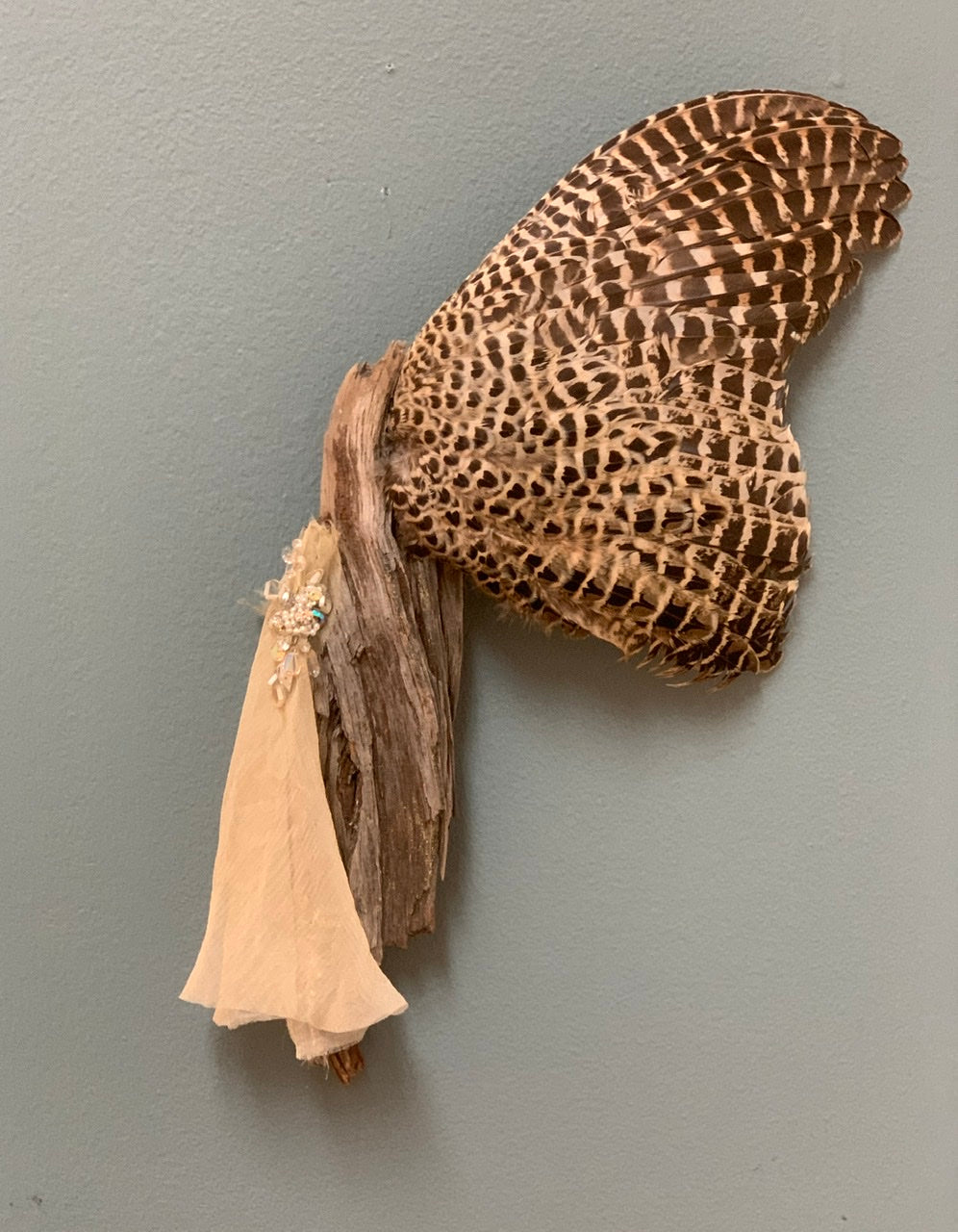 Spirit Wand 9 - Ringneck Pheasant Wing MIxed Media Wall Sculpture