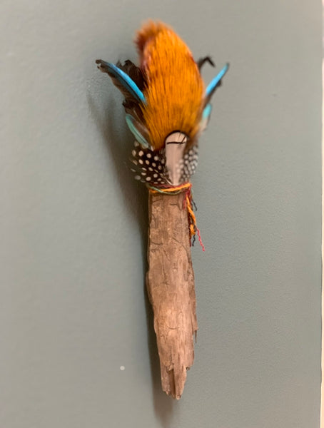 Spirit Wand 2 - Common Kingfisher MIxed Media Wall Sculpture