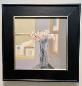 """Flowers and Window"" - Original Custom Framed Oil Painting"