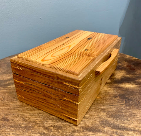 Handmade Barnwood Oak and Reclaimed HearT Pine Jewelry Box BGB004