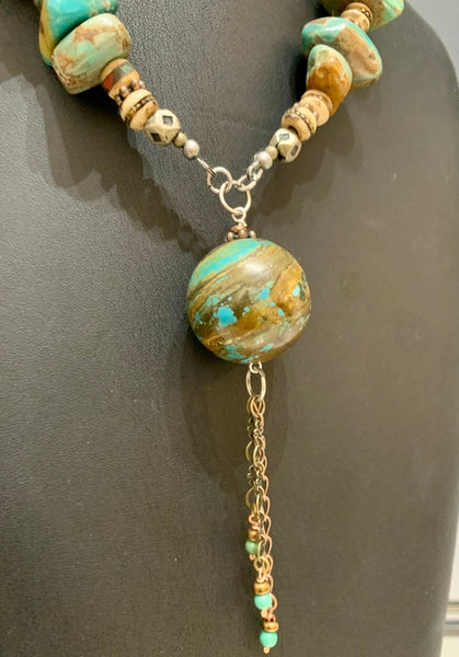 Adjustable Natural Turquoise Chunk Necklace with Brass Findings and Large Round Turquoise Focal Bead