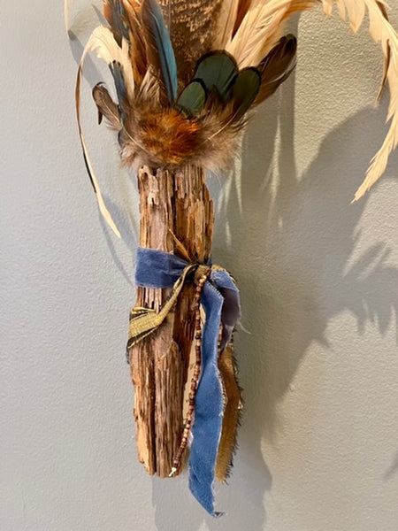 Spirit Wand 21 - Florida Pine MIxed Media Wall Sculpture