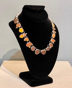 Brown 26 Stone Sea Glass Necklace with Citrine Gemstones  NM3N