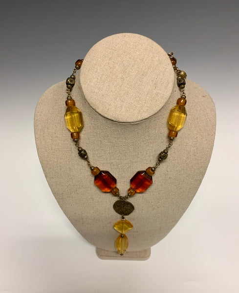 Vintage Yellow and Amber Glass Necklace with White Brass Findings