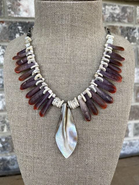 Adjustable Shell Centerpiece Necklace adorned with Sea Urchin Quills and Shell