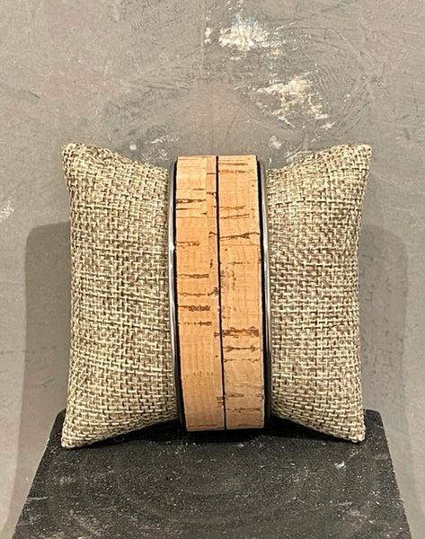 Adjustable Double Strip Natural Cork 20mm Cuff with White Brass