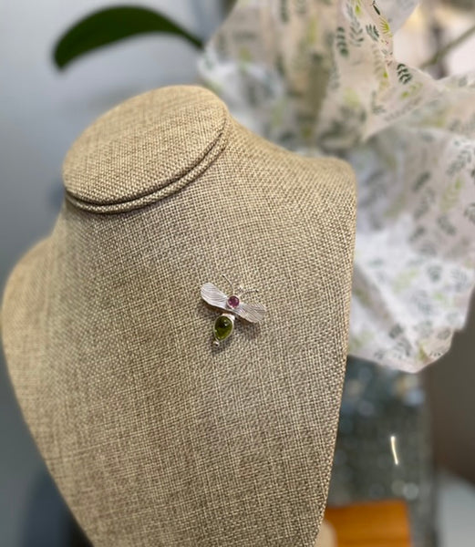 Sterling Silver Bee Pin/Pendant with Peridot and Pink Sapphire NM84P