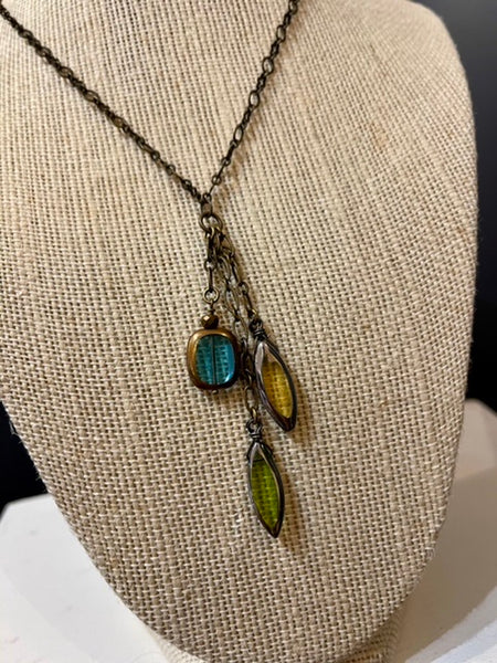 Blue Yellow and Green Triple Vintage Bead Graduated Simple Necklace with Brass Findings