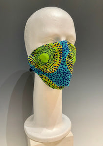 Green/Multi Colored Cotton Reversible Face Mask with Tshirt Adjustable ear straps