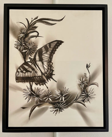 """Eastern Tiger Swallowtail"" Fumage Drawing on Clay Board"