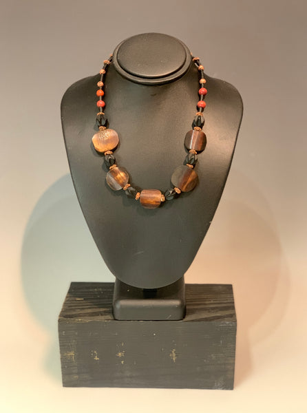 Mixed Media Necklace with Wood and Copper