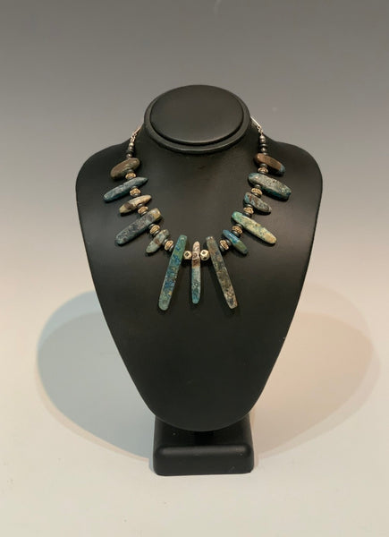 Polished Jasper Rounded Spiked Necklace with Fair Trade African silver pillow beads