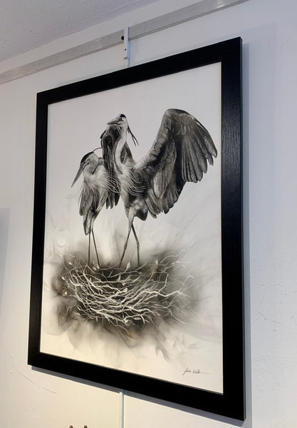 """Blue Herons Spring Nest"" Fumage Drawing on Clay Board"