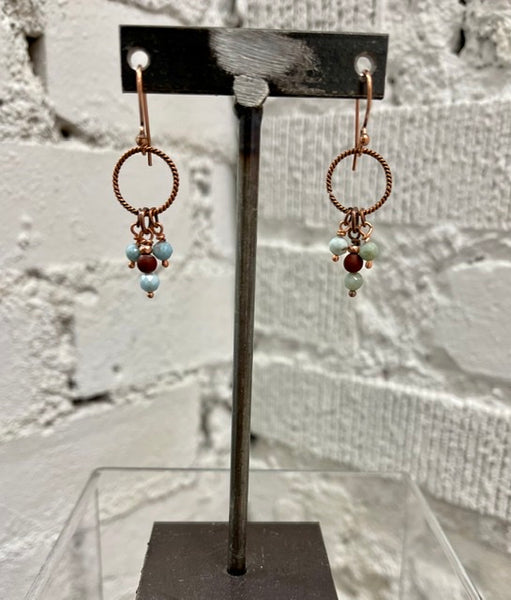 Copper Circle Earrings with Red Jasper and Larimar