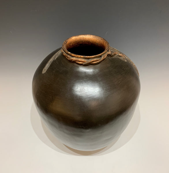 Three Feathers - Large Earthenware Ceramic Vessel with Mixed Media