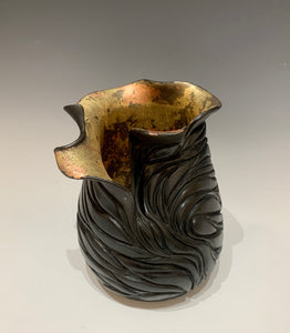 Night Glow - Earthenware MIxed Media Ceramic Vessel