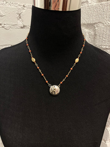 Small Sterling Silver Dome Pendant Necklace with 14K balls, Goldstone and Hematite Beads with Sterling Silver Chain N3024