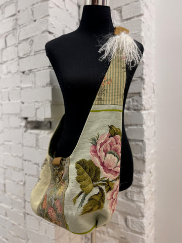 Vintage Tapestry Crossbody Handbag with Adjustable Strap - 7