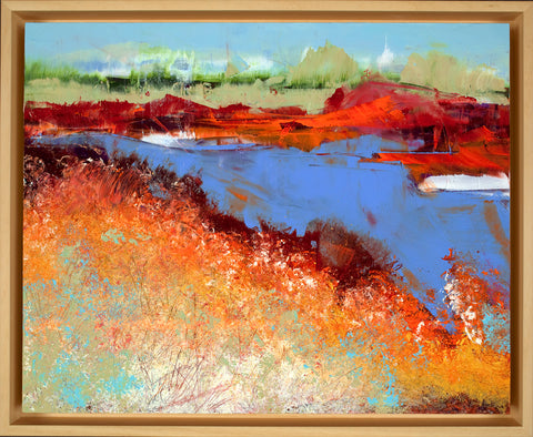 """Morning Shore"" Framed Oil and Cold Wax on Cradled Panel"