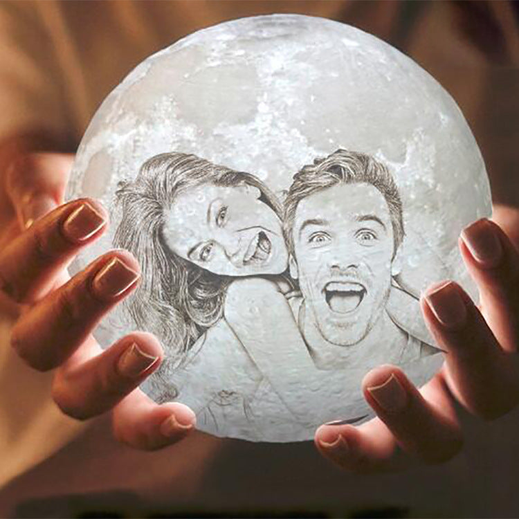 Customised 3D Moon Lamp with Text & Photo