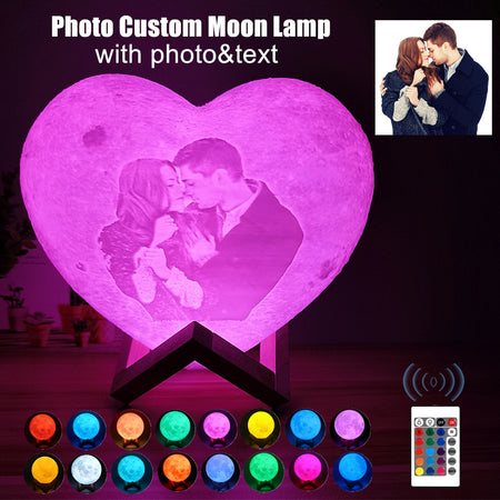 Customized 3D Printed Moon Lamp With Picture