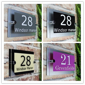 Customize Modern House Sign Glass Effect