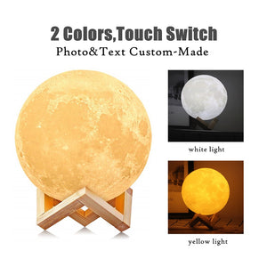 3D Print Moon Lamp Photo Custom Personality Color Change
