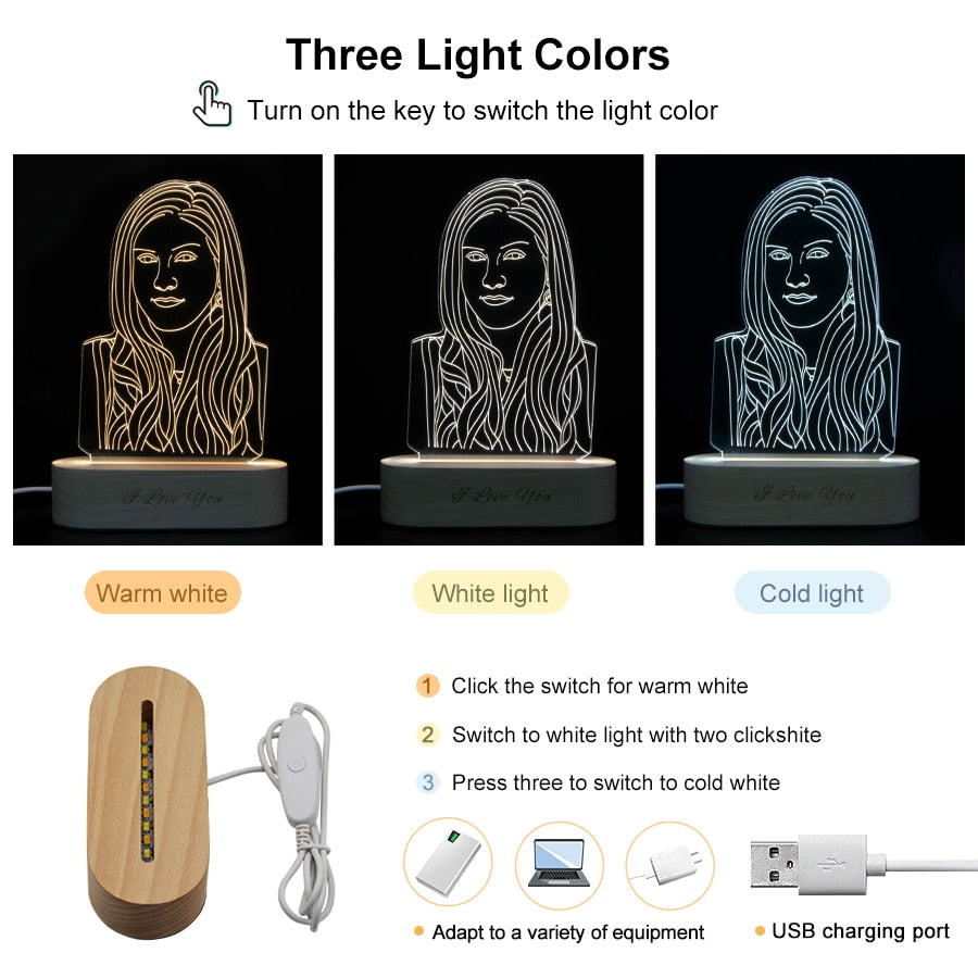 Customized 3D Printing Wooden Base LED Lamp