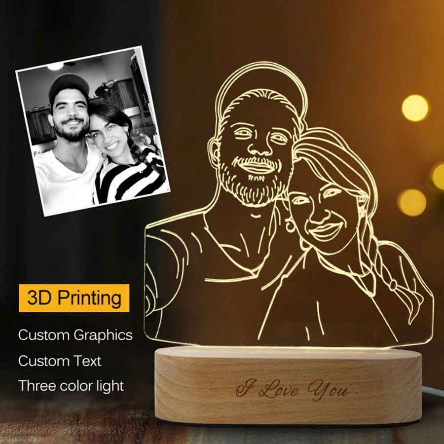Wedding Gifts 3D Night Light Lamps Customized Lamp