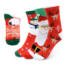 Load image into Gallery viewer, Parquet 3-Pack Ladies Christmas Holidays Crew Socks