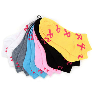 Nollia 6-Pack Assorted Women's Breast Cancer Awareness Low Cut Socks