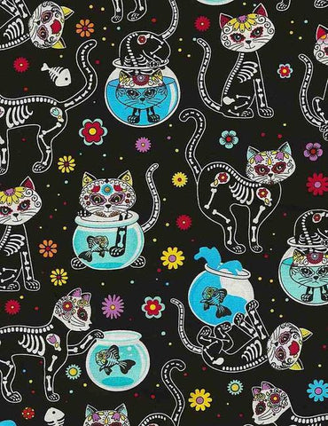 Day of the Dead Cats by Timeless Treasures