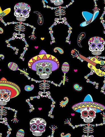 Southwestern Day of the Dead Dancing Skeletons Bright