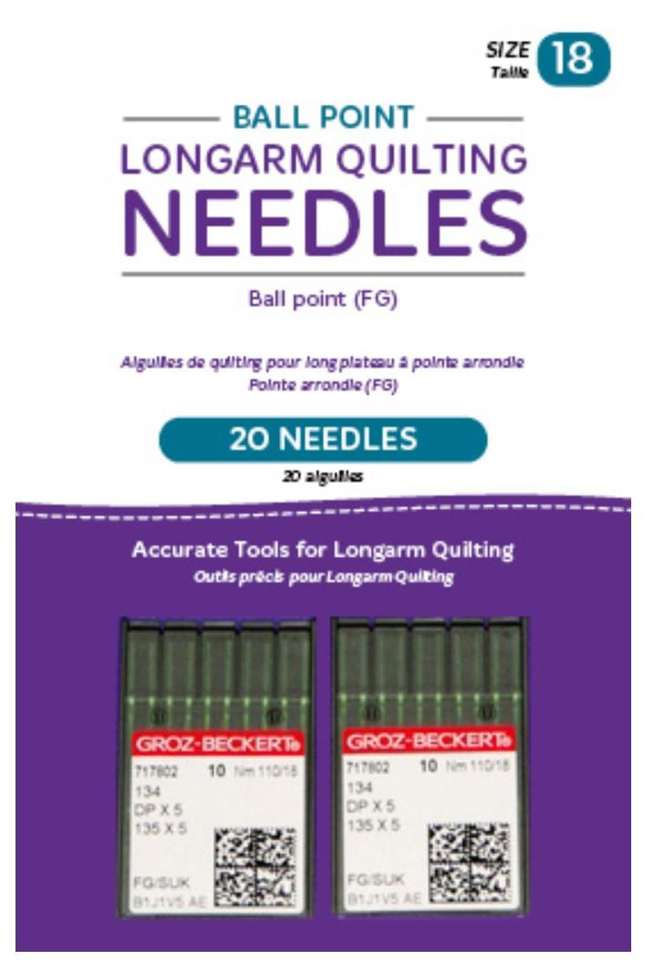 Ball Point Longarm Needles – Two Packages of 10 (18/110-FB, Ball Point)