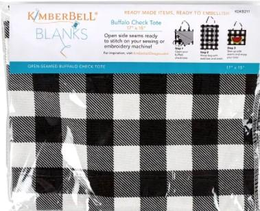 Kimberbell Buffalo Check Tote  Black 17x15""
